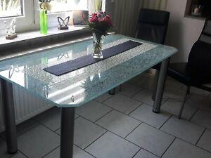 Esszimmer Tisch Crash Glas 1600 X 800 mm Stärke 15 mm Füße Edelstahl Unikat