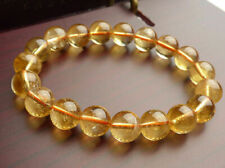 Genuine Natural Yellow Citrine Quartz Crystal Round Beads Bracelet 10mm AAA