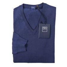 NWT $500 FEDELI Lightweight Superfine Merino Wool Sweater M (Eu 50) Blue