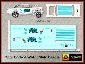 Hot Wheels '55 Chevy Candy Striper Gasser' METALLIC TEAL Decal SCR-0066