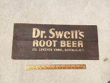 "Vintage Dr Swett's Root Beer Soda Pop Wood Advertising Sign Buffalo NY 7"" x 17"""