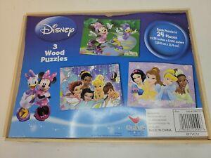 Disney 3 Wood Puzzles Wood Box Cardinal Industries. Fairies, Princesses, Minnie
