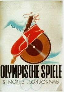 Original vintage poster OLYMPIC GAMES 1948 LONDON & ST.MORITZ