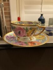 Beautiful Vintage Dresden Germany Porcelain Handpainted Gilded Cup & Saucer