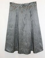 eShakti Brand Black Grey Pleated Midi Skirt Size L-12 LIKE NEW #AN02