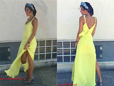 ZARA NEW LIGHT YELLOW DOUBLE LAYER LONG MAXI DRESS WITH SIDE SLIT SIZE M