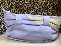 👛 Paola By P.D.L. Clutch  Handbag Lavender & Beige Genuine Leather Purse 🦋