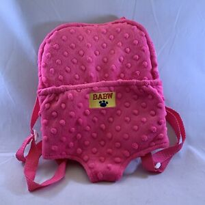 Build A Bear Pink Backpack Carrier Adjustable Straps BABW Travel Accessory