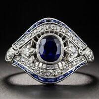Vintage Ringe Blau Zirkon Saphir Ring Damen Mode Hochzeit Fingerringe Schmuck