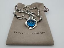 David Yurman Infinity Pendant Necklace Blue Topaz 17mm and 18 in Chain