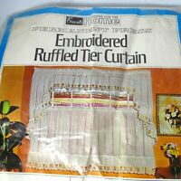 """Vintage Grants Embroidered Ruffle Tier Kitchen Cafe Curtain 62"""" x 36"""" Tulip FLAW"""