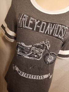 HT4431GRY Harley Davidson Women's Rendezvous Top Shirt Embellished New BLING