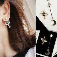 Mode Frauen Mond Stern Planet Tropfen Baumeln Ohrringe Asymmetrische Frauen Best