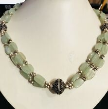 REAL CHINESE HANDCRAFTED FLUORITE  BEAD NECKLACE TIBETAN SILVER