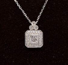 "14K WHITE GOLD DIAMOND PENDANT WITH 18"" CHAIN"
