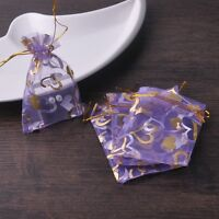 100pcs 10x15cm Organza Wedding Party Decoration Gift Candy Bags Pouches Purple