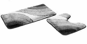 """Badematten-Set """"Sliding-Wave"""" 50x90cm und 50x45cm 2 Teile Grau mit WC-Ausschnitt"""