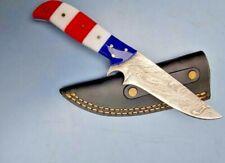 MH KNIVES CUSTOM USA FLAG DAMASCUS STEEL FULL TANG HUNTING/SKINNER KNIFE 319J
