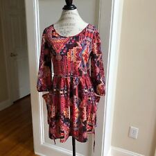 Band of Gypsies Colorful Print Dress Red Yellow Blue Black size M EUC