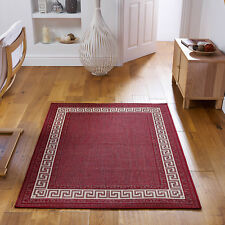 Greek Flatweave Anti Slip Kitchen Hall Rugs Mats Runners 5 Colours Red 060 X 225 Cm Runner