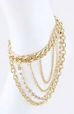 Gold and Rhinestone Ankle Chain