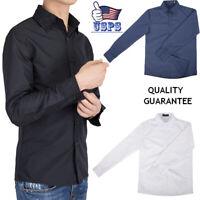 New Fashion Mens Casual Shirt Luxury Stylish Dress Formal Tops Long Sleeve M-5XL