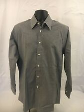 CALVIN KLEIN COLLECTION GRAY BLACK WHITE PLAID MENS DRESS SHIRT SIZE M