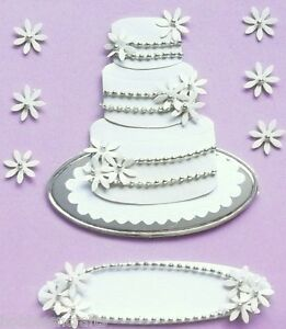 WEDDING CAKE Jolee's Boutique 3-D Stickers Marriage Married Flowers Beads