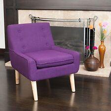Retro Purple Fabric Accent Chair w/ Button Tufted Backrest