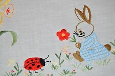 EASTER BABY BUNNY & LADYBUG FRIEND! VTG GERMAN TABLECLOTH + RUNNER +TABLE RIBBON