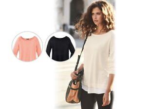Women's Fine Knit Jumper Black Cream Pink S M L 10 12 14 16 18 20 36 38 40 46