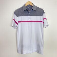 FootJoy FJ Golf Men's Short Sleeve Golf Polo Shirt Grey / Pink Stripe Size M