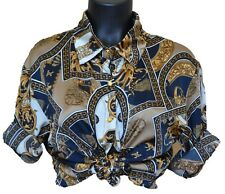 Vintage Versace Fancy Buttons Wheels with Chains Long Sleeve T Shirt Designer