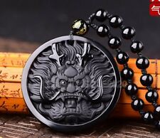 100% Natural Obsidian Carved Dragon Head Lucky Amulet Pendant + beads Necklace