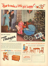 1954 vintage AD THAYER Doll Carriage & furniture , Christmas Morning 082917