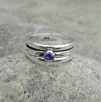 Amethyst Solid 925 Sterling Silver Spinner Meditation Statement  Ring Size M424