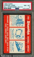 1958 Topps Contest Card All-Star Game July 8 PSA 8 NM-MT