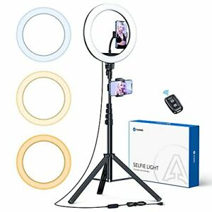 """andobil 10"""" Ring Light with Tripod Stand 71"""" Tall & 3 Cell Holders Brighter &..."""
