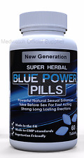 60 x 100mg Male Men Blue Sex Tablets Natural Sexual Enhancement 100% Guarantee