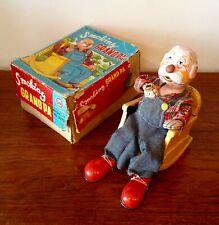 "MARUSAN Toys - Battery Toy ""SmokingGrand'Pa"" Automate Japon 1950 Tin Litho"