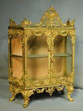 Antique French Gilt Brass ORNATE Louis XIV Miniature Vitrine Curio Cabinet doré