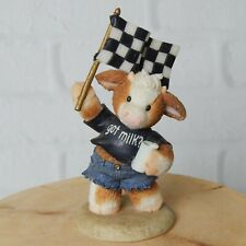 Marys Moo Moos Lap It Up At The Finish Cow Figurine Got Milk #780634 Racing