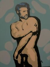 "Ohh by George 16"" x 20""  Canvas Acrylic Original Nude LGBT Theme Signed Pop Art"