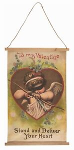 Victorian Trading Co Be My Valentine Stand & Deliver Your Heart Canvas Banner