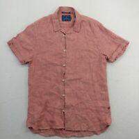 Scotch & Soda Mens Medium Button Up Shirt Red Regular Fit Short Sleeve