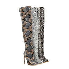 Women's High Heels Snakeskin Microfiber Leather Almond Toe Shoes Over Knee Boots