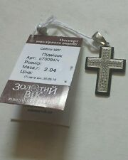925 Silver Cross Pendant 2 Row White & 1 row black zirconium white gold tone NWT
