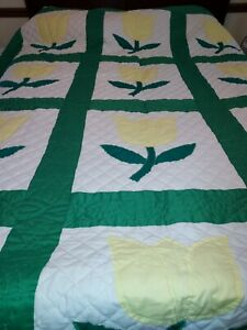 """White With Yellow Applique Tulips Hand Quilted 82""""x102"""" Queen Quilt"""