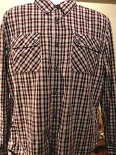 7 For All Mankind Men's  Plaid Button Up Long Sleeve Cotton Shirt Size XL