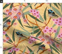 Pink Green Yellow Flowers Floral Birds Botanical Spoonflower Fabric by the Yard